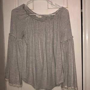 Maurice's Gray and white stripe top